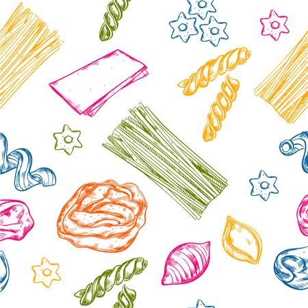 Pattern with isolated colorful hand drawn italian pasta elements of different shape variation on blank background illustration