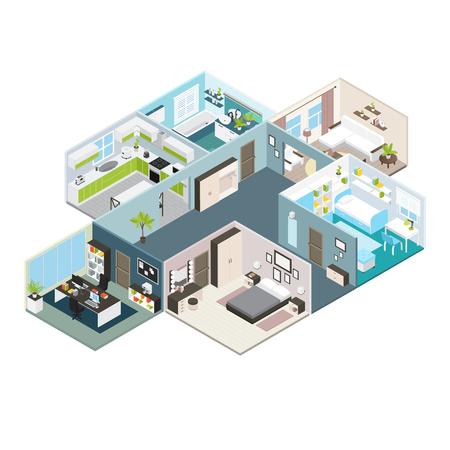 Mise en page vue intérieure maison isométrique de locaux résidentiels avec illustration de chicanes et murs