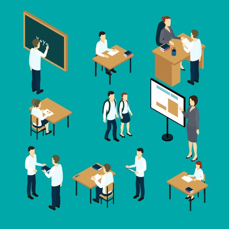 Isometric set of teachers and students with boards and furniture on green background  isolated illustration Ilustração