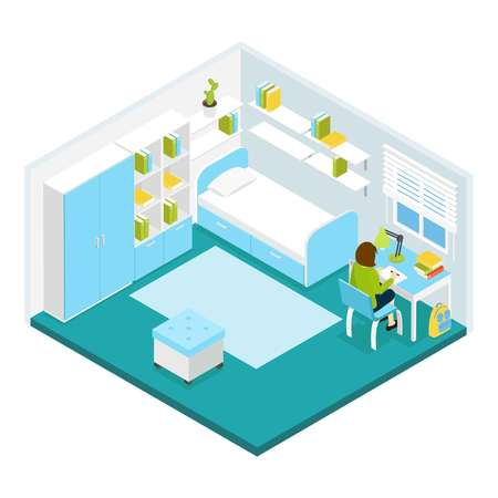 private room: Girl doing homework in her private room isometric template with blue white furniture and carpet illustration Illustration