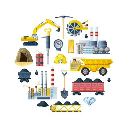 Round composition with mining industry isolated icons and decorative symbols of tools and technics flat illustration