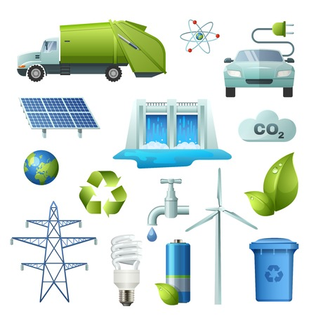 alternate: Set of isolated icon ecology elements with signs for alternate energy sources earth recycling electric cars illustration Illustration