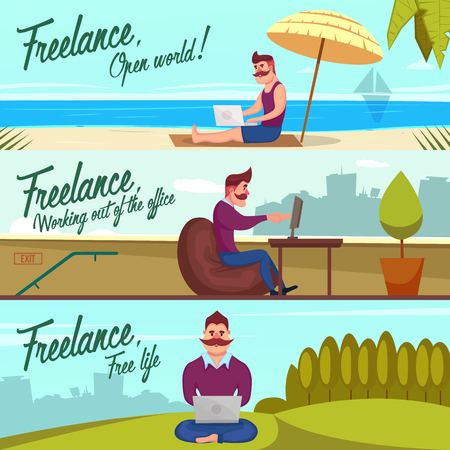 vacation with laptop: Three horizontal banners set with freelancer character working outdoors on beach hills and roof with text illustration