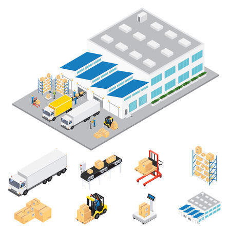 Warehouse industrial area isometric with cars and trucks servicing warehouse colored in volumetric style illustration