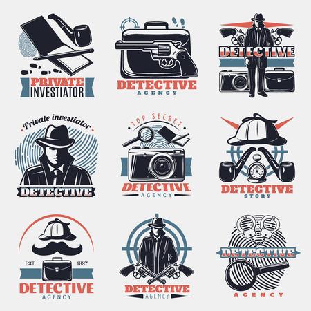 detective agency: Nine isolated vintage detective labels in color with lens wristbands spy gear and fingerprint investigation symbols illustration Illustration