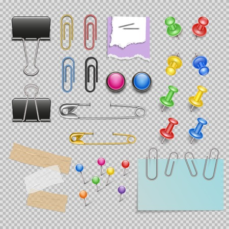 Office accessories set with pins and staples note paper and clips scotch and magnets isolated illustration