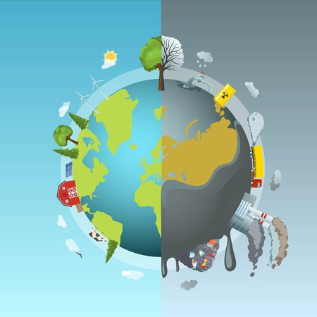 Circle ecology composition with cartoon style drawn earth globe divided into two halves clean and polluted illustration