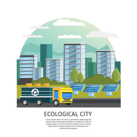 arched: Orthogonal icon ecology conceptual composition with arched smart city urban landscape houses truck and solar batteries illustration Illustration