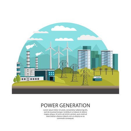 thermal power plant: Orthogonal icon power generation conceptual composition with arched city view with hills and alternative energy sources vector illustration