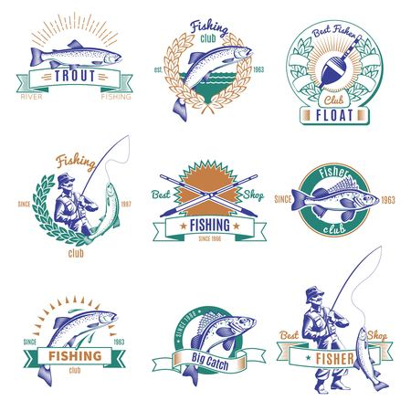 Nine isolated labels set in color with vintage style images of different fishes and fishing gear illustration