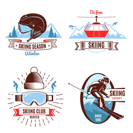 Skiing season emblems with funicular persons and mountain sports gear and design elements isolated illustration