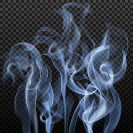 Realistic abstract image with slate grey colour blurry vibrant smoke shapes on dark transparent background illustration Illustration