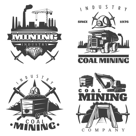 Four isolated detailed emblems set with professional coal mining industry elements factory silhouettes and tool symbols illustration Vektorové ilustrace