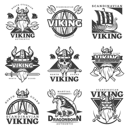 Black isolated vintage viking label set with north guardian Viking authentic martial dragonborn authentic descriptions illustration
