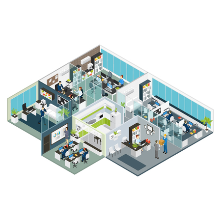 Set room office isometric with isolated rooms combined in big office building on one floor vector illustration Vettoriali