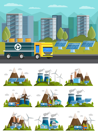 Isolated orthogonal ecology compositions set with traditional and alternative power sources in mountains and urban scenery illustration