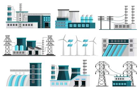 Ensemble de neuf images de génération de puissance orthogonales isolées de scènes de paysage de centrales lignes de transmission illustration de piliers de transformateur