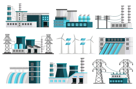 Set of nine isolated orthogonal power generation images of powerhouse landscape scenes transmission lines transformer pillars illustration