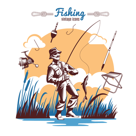 pike: Fishing composition with vintage old style icons of fisher lake reeds fishing gear and title text illustration