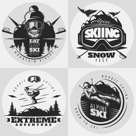 alps: Monochrome isolated square composition with round emblems for extreme alpine skiing drawn in old school style illustration