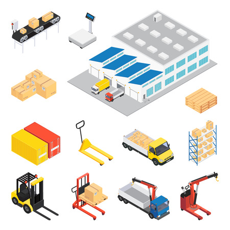 Warehouse isometric icon set with elements and attributes for creating continuous cycle of work with a load of stock illustration