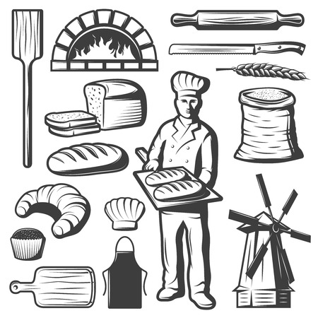 Set of isolated monochrome bakery elements drawn in vintage style with bakery food and mill symbols illustration