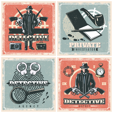 Four detective agency square compositions set in old school style with male character with investigation symbols illustration Ilustração Vetorial
