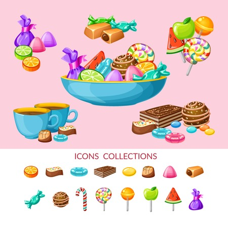 laid: Sweet candy icon set composition with candies laid out on plates and in groups illustration Illustration