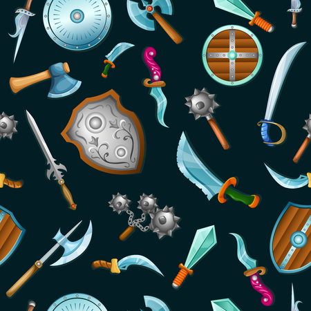 fond: Medieval weapons seamless background pattern with flying cartoon elements on black fond illustration Illustration