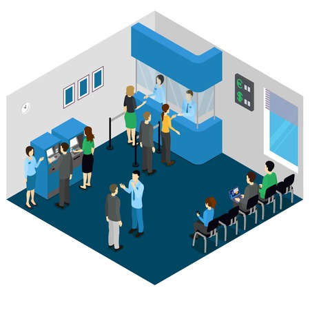 visitors: Bank office isometric concept with employees in uniform and visitors atm machine and stands illustration