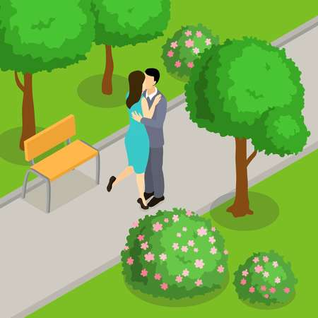 Kissing loving couple on walkway in park isometric design with bench green trees and bushes illustration