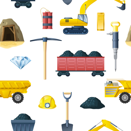 Mining insudtry isolated elements pattern with essential tools and technics for mining coal and diamond symbols illustration