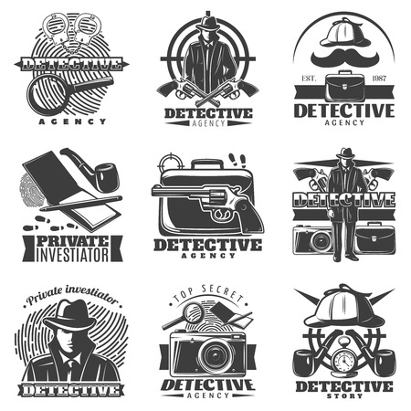 Isolated vintage detective labels set with old fashioned accessories mask and investigation symbols on blank background illustration