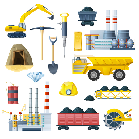 Mining insudtry isolated colorful elements set with realistic images of different factory technics and tools symbols illustration Ilustração