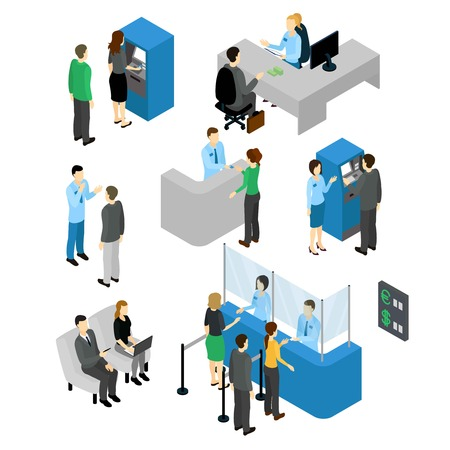People in bank isometric set with employees and clients atm machine and currency exchange isolated illustration Vectores