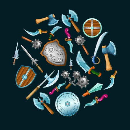 Medieval weapon set in circle shape with shields sword saber mace on black background isolated illustration