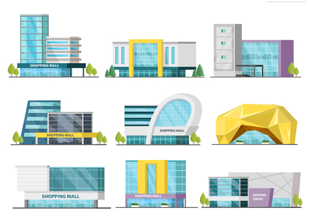 Set of isolated shopping mall buildings of various design with signboards and trees orthogonal illustration Illustration