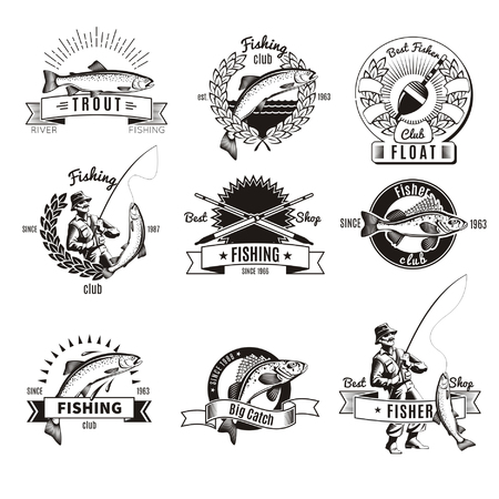 Set of nine isolated monochrome fishing labels with old style decorations captions fish and tackle icons illustration Illustration