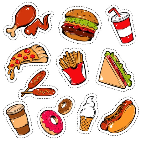 Isolated colored in cartoon style fast food icon set outlined with a dotted lines illustration
