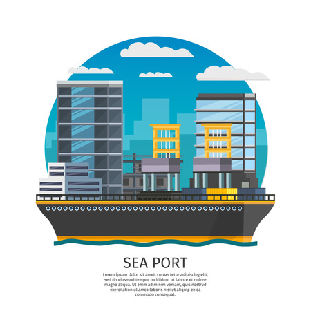 facilities: Sea port and freight boat design including harbor facilities and city modern buildings illustration