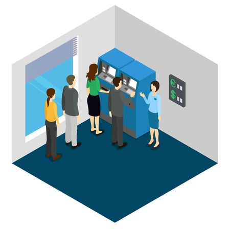 queue: People in queue to ATM machines and banking consultant isometric design in grey blue colors illustration