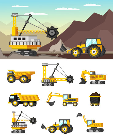 Mining industry orthogonal concept with rock formations extraction and set of icons with machineries isolated illustration