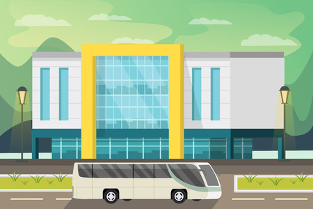 transportation facilities: Shopping center building street lighting and bus on road natural landscape in background orthogonal illustration
