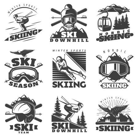 Nove isolati in bianco e nero etichette sci nordico in stile vintage con attrezzi modo corda e figure sciatore illustrazione Archivio Fotografico - 67500116