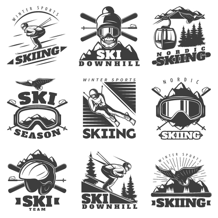 Nine isolated monochrome nordic skiing labels in vintage style with rope way gear and skier figures illustration Illustration