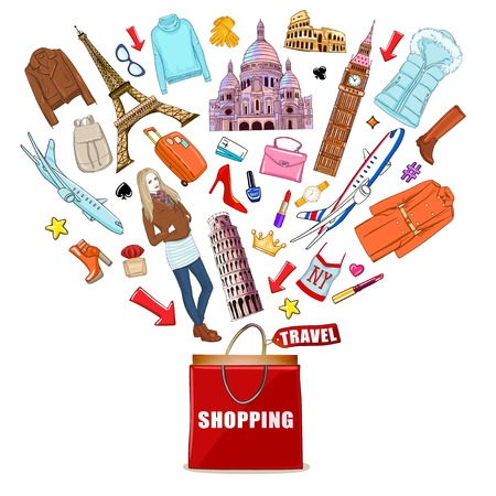 Isolated shopping europe travel composition with red shopping bag and purchases depart out of him illustration