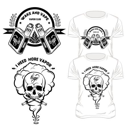 Vape t-shirt designs set with wake and vape and I need more vapor descriptions illustration