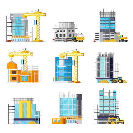 Orthogonal icons set with construction of buildings from glass and concrete scaffolding and machineries isolated illustration