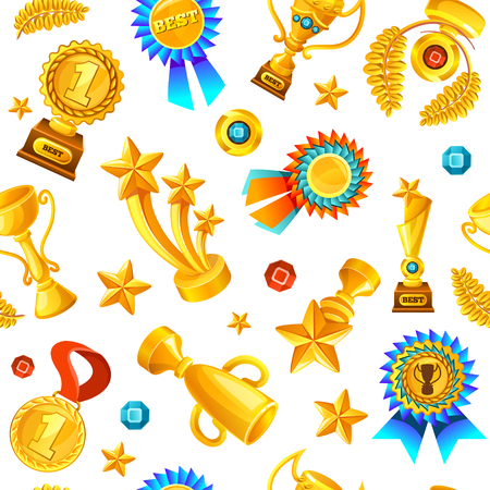 fond: Colored cartoon gold trophies medals seamless background pattern flying on white fond illustration