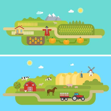 Summer agricultural landscapes with garden grain fields and pasturing farm animals on blue background isolated illustration